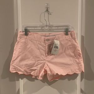 NWT Lauren James scalloped poplin pale pink shorts